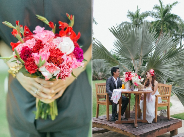 Cuckoo Cloud Concepts Allen Junez Engagement Session Bright Florals Tropical Plantation Bay-38