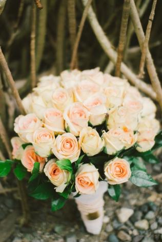 Romantic All-Peach Bouquet for Luena's Seaside Wedding // photo by Blinkbox Photos