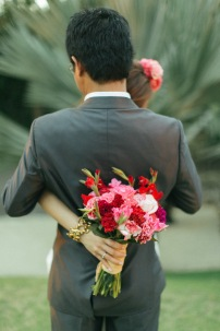 Bright Red & Pink Bouquet for Junez's Resort Engagement Session // photo by Rock Paper Scissors Photography