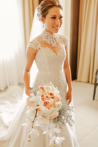 Blush & Neutral Cascade Bouquet for Karen's Midnight Ocean Wedding // photo by Marlon Capuyan Photography