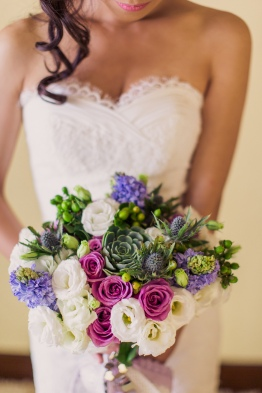 Purple & Green Rustic Bouquet for Eppie's Seaside Wedding // photo by Rock Paper Scissors Photography