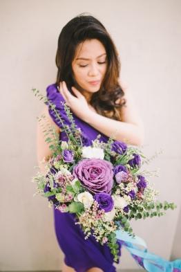 Purple Hand-tied Bouquet for Karen's Thai-Inspired Wedding // photo by Blinkbox Photos