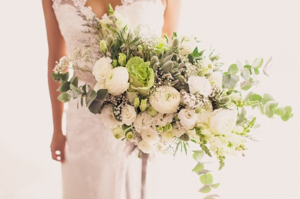Rustic White & Green Hand-tied Bouquet | photo by Rock Paper Scissors Photography