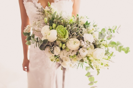 Rustic White & Green Hand-tied Bouquet   photo by Rock Paper Scissors Photography