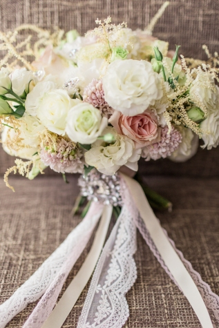 Blush & Cream Bouquet for Angela's Romantic Seaside Wedding | photo by Rock Paper Scissors Photography