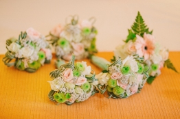 Peach & Mint Green Bouquets for Roylan & Janeth's Entourage // photo by Marlon Capuyan Photography