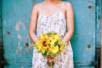 Bright Sunflower & Daisy Bouquet for Kristine's Hippie Wedding // photo by Blinkbox Photos