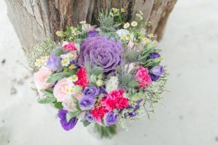 Purple, Peach & Pink Bouquet for Jeanette's Bohemian Palawan Wedding // photo by Rock Paper Scissors Photography