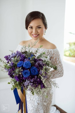 Elegant Blue Bouquet for Candace's Greek-Inspired Wedding