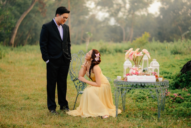cuckoo cloud concepts david and jaja enchanted engagement session wooden swing lush greens pink flowers-13