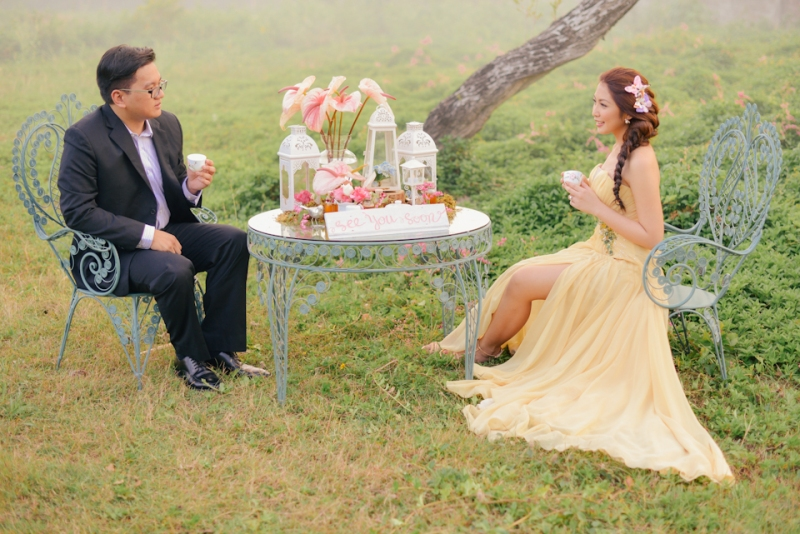cuckoo cloud concepts david and jaja enchanted engagement session wooden swing lush greens pink flowers-14
