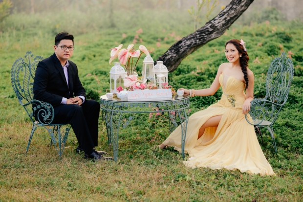 cuckoo cloud concepts david and jaja enchanted engagement session wooden swing lush greens pink flowers-17