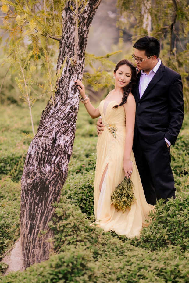 cuckoo cloud concepts david and jaja enchanted engagement session wooden swing lush greens pink flowers-23