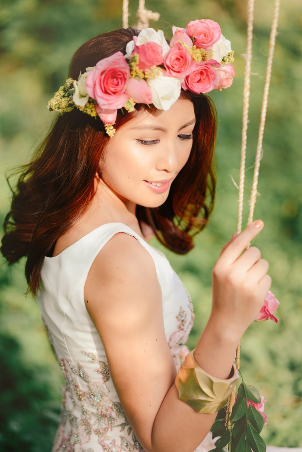 cuckoo cloud concepts david and jaja enchanted engagement session wooden swing lush greens pink flowers-24