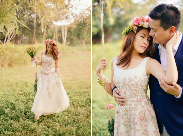 cuckoo cloud concepts david and jaja enchanted engagement session wooden swing lush greens pink flowers-25