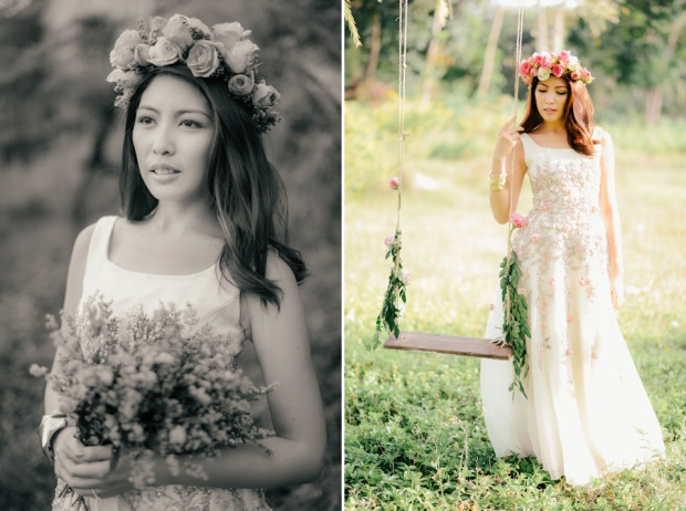 cuckoo cloud concepts david and jaja enchanted engagement session wooden swing lush greens pink flowers-26