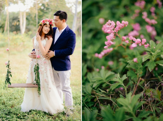 cuckoo cloud concepts david and jaja enchanted engagement session wooden swing lush greens pink flowers-27