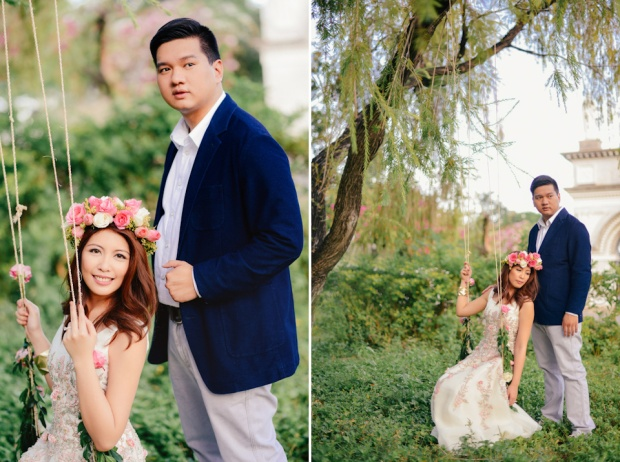 cuckoo cloud concepts david and jaja enchanted engagement session wooden swing lush greens pink flowers-28