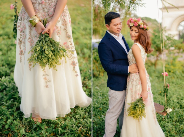 cuckoo cloud concepts david and jaja enchanted engagement session wooden swing lush greens pink flowers-29