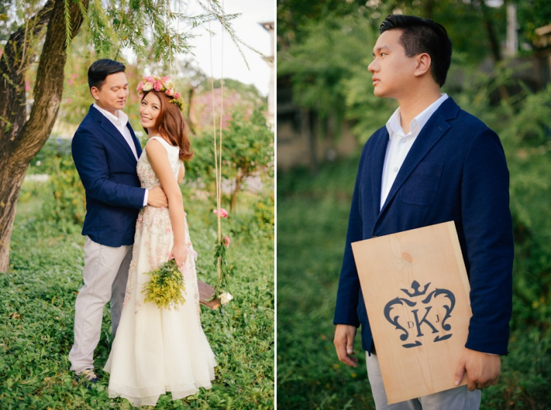 cuckoo cloud concepts david and jaja enchanted engagement session wooden swing lush greens pink flowers-30