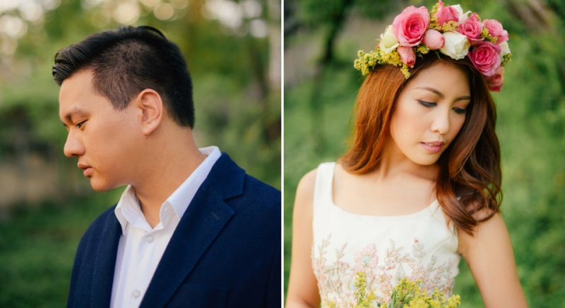 cuckoo cloud concepts david and jaja enchanted engagement session wooden swing lush greens pink flowers-31