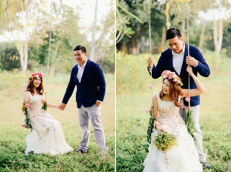 cuckoo cloud concepts david and jaja enchanted engagement session wooden swing lush greens pink flowers-32