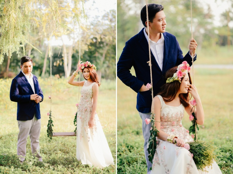 cuckoo cloud concepts david and jaja enchanted engagement session wooden swing lush greens pink flowers-34