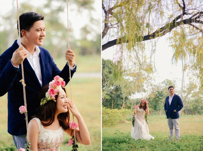 cuckoo cloud concepts david and jaja enchanted engagement session wooden swing lush greens pink flowers-35