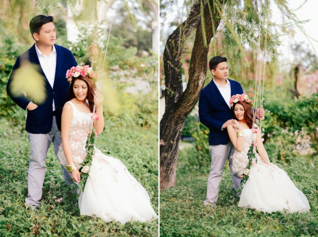cuckoo cloud concepts david and jaja enchanted engagement session wooden swing lush greens pink flowers-36
