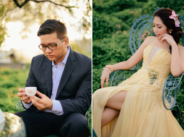 cuckoo cloud concepts david and jaja enchanted engagement session wooden swing lush greens pink flowers-37