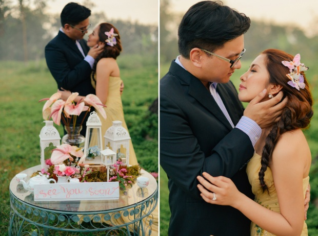 cuckoo cloud concepts david and jaja enchanted engagement session wooden swing lush greens pink flowers-39