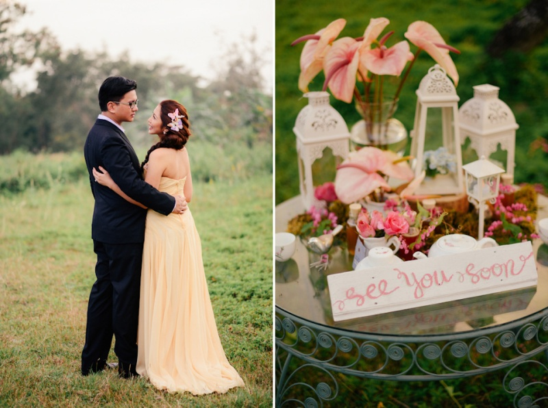 cuckoo cloud concepts david and jaja enchanted engagement session wooden swing lush greens pink flowers-40