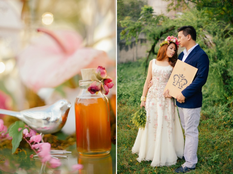 cuckoo cloud concepts david and jaja enchanted engagement session wooden swing lush greens pink flowers-41