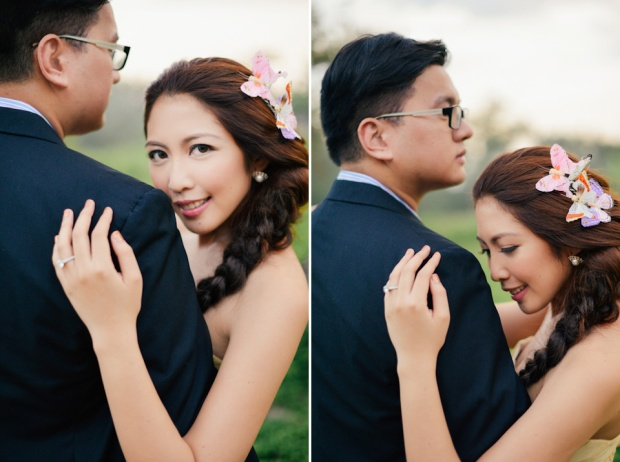 cuckoo cloud concepts david and jaja enchanted engagement session wooden swing lush greens pink flowers-42