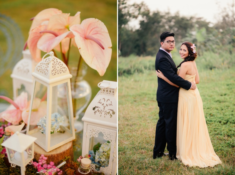 cuckoo cloud concepts david and jaja enchanted engagement session wooden swing lush greens pink flowers-43