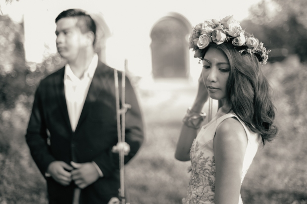 cuckoo cloud concepts david and jaja enchanted engagement session wooden swing lush greens pink flowers-9