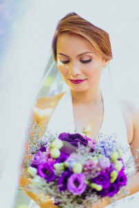 Purple and Blue Hand-tied Bouquet for Leah's Filipiniana Beach Wedding // photo by Rainbowfish Photo