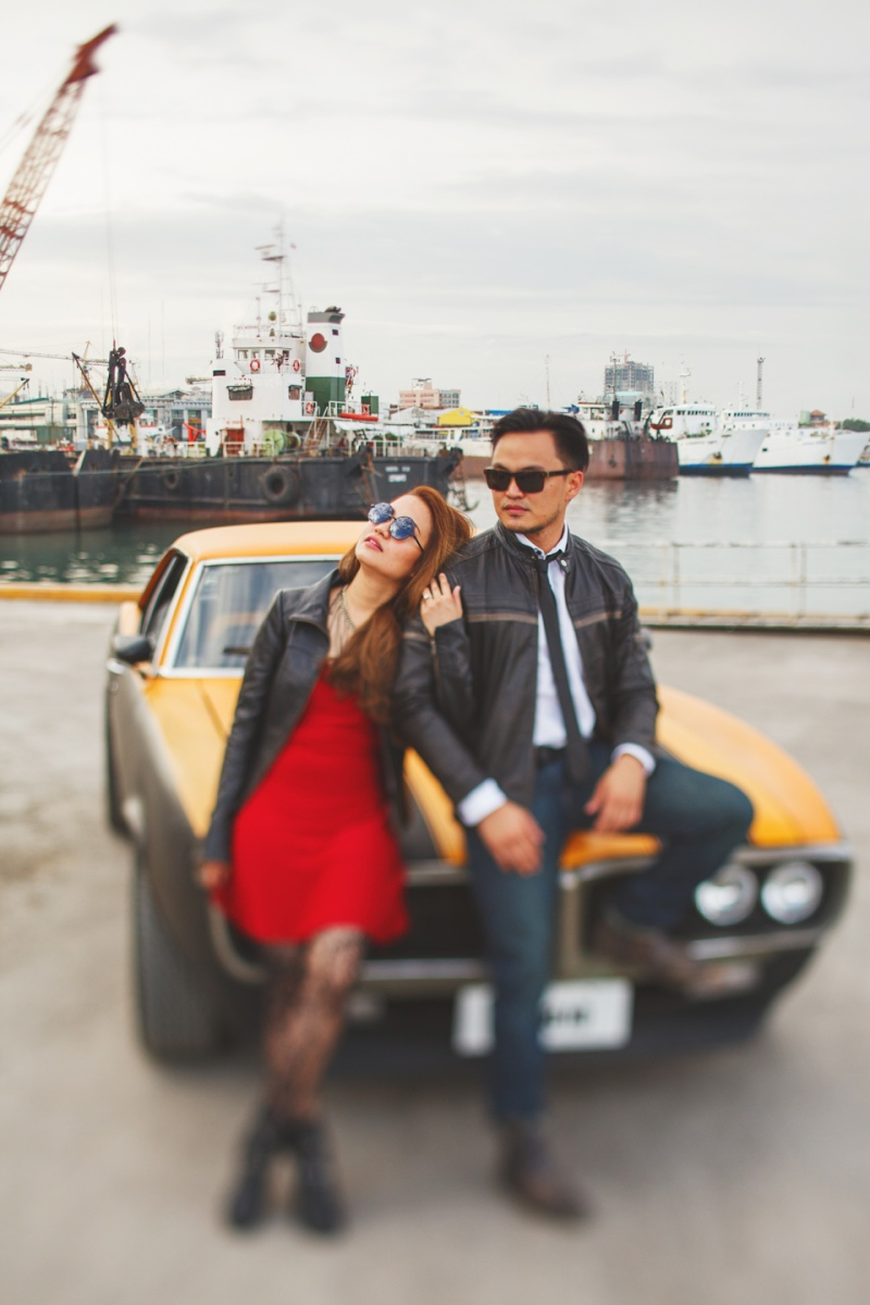 Cuckoo Cloud Concepts Francis and April Engagement Session Grunge Sports Car Edgy -1