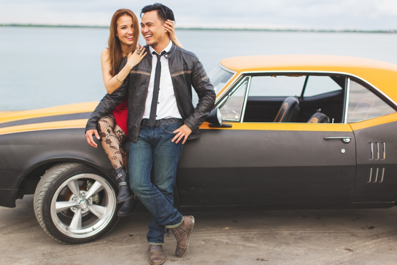 Cuckoo Cloud Concepts Francis and April Engagement Session Grunge Sports Car Edgy -25
