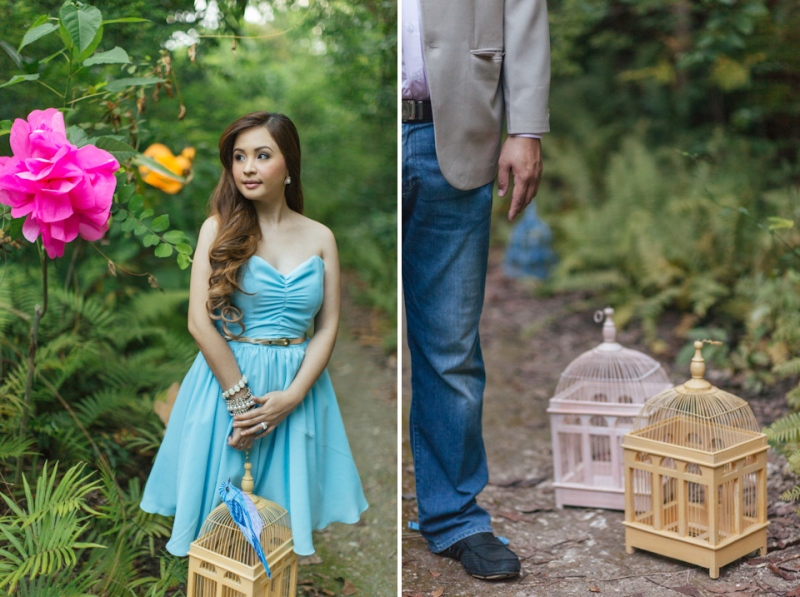 Cuckoo Cloud Concepts Edsel and Nat Engagement Session Alice in Wonderland Oriental Vintage House Open Field Teacups Clocks Blue Dress-50