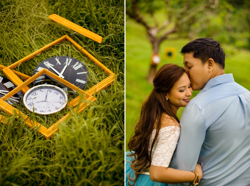 Cuckoo Cloud Concepts Edsel and Nat Engagement Session Alice in Wonderland Oriental Vintage House Open Field Teacups Clocks Blue Dress-52