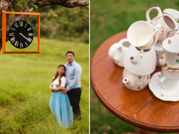 Cuckoo Cloud Concepts Edsel and Nat Engagement Session Alice in Wonderland Oriental Vintage House Open Field Teacups Clocks Blue Dress-53