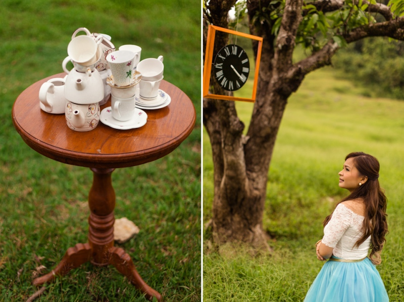 Cuckoo Cloud Concepts Edsel and Nat Engagement Session Alice in Wonderland Oriental Vintage House Open Field Teacups Clocks Blue Dress-54