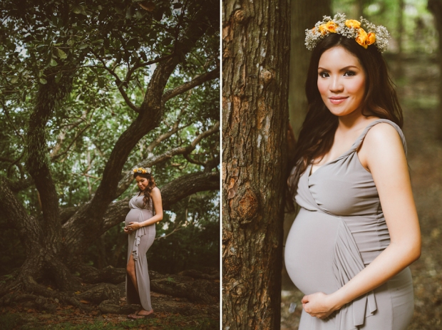 Cuckoo Cloud Concepts Kimberly Burden Gothong Maternity Session Forest Enchanted Neutrals Yellow Floral Crown-20