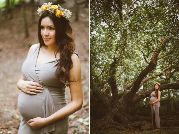 Cuckoo Cloud Concepts Kimberly Burden Gothong Maternity Session Forest Enchanted Neutrals Yellow Floral Crown-21