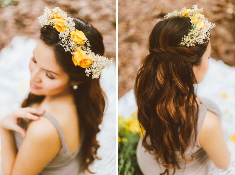 Cuckoo Cloud Concepts Kimberly Burden Gothong Maternity Session Forest Enchanted Neutrals Yellow Floral Crown-22