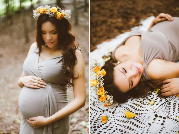 Cuckoo Cloud Concepts Kimberly Burden Gothong Maternity Session Forest Enchanted Neutrals Yellow Floral Crown-23