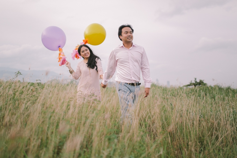 Cuckoo Cloud Concepts Julius and Pavirly Engagement Session Balloons Field Projected Images Colorful Fringes-19
