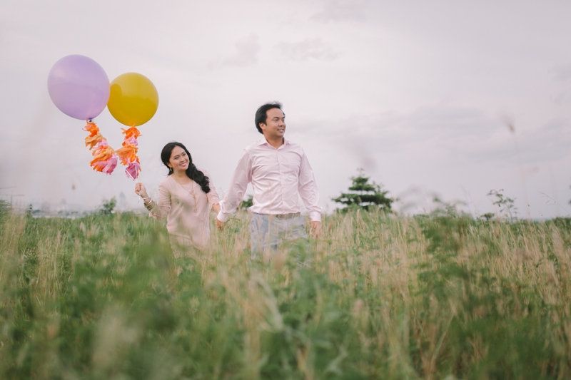 Cuckoo Cloud Concepts Julius and Pavirly Engagement Session Balloons Field Projected Images Colorful Fringes-20
