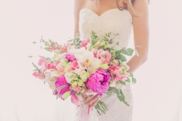 Lush Bouquet in Shades of Pink for Joy | photo by Rock Paper Scissors Photography